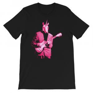 Pink Unicorn Guitar Player Unisex Tee-black
