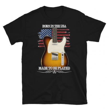 Born In The USA, Made To Be Played Telecaster Guitar T-shirt-black