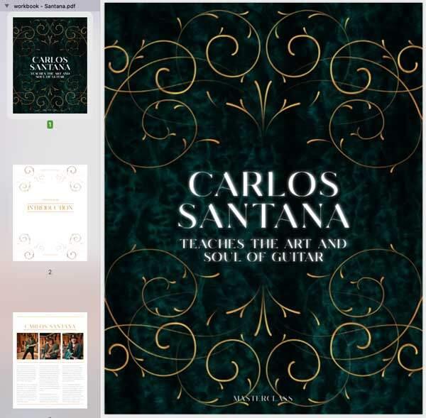 Carlos Santana MasterClass Workbook