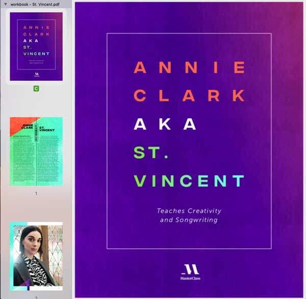 Saint Vincent MasterClass Workbook
